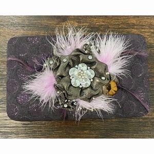 Purple Flower Feather Wallet